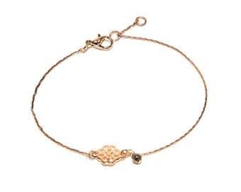jewelry, rose gold brass bracelet
