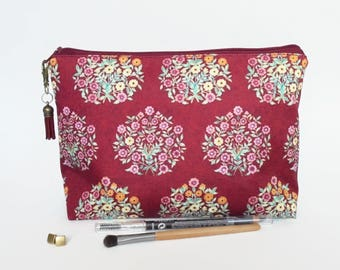 Gifts for her, Canvas Wash bag, Raspberry florals, cosmetic bag, zip bag, make up bag floral toiletry zipper.