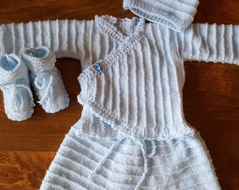 Whole jacket, harem pants, booties and hat size newborn to 1 month