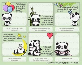 Bible Verse Lunch Notes Pandas - Pandas Lunch Notes - Lunchbox Spiritual Nutrition
