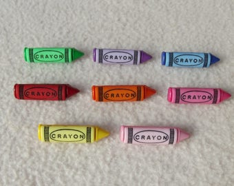CRAYONS ~ Dress It Up Buttons ~ 8 Colourful Crayon Buttons