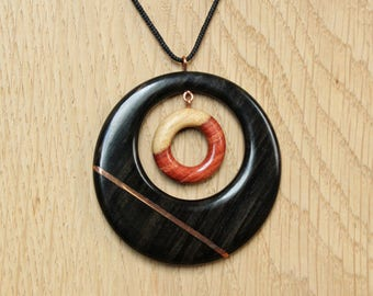 """Pendant """"midnight rose copper"""" - wooden jewelry"""
