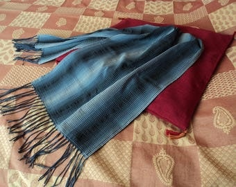 Scarf beige/blue/black polyester cotton