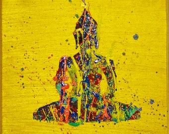 Original Buddha painting, yoga meditation art, yoga studio decor, modern spiritual art, acrylic painting on canvas