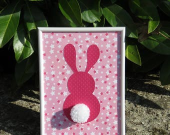 "Deco frame for child's room ""my little bunny"" colors: different shades of pink and tassel"