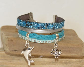 """Girl """"Dolphin"""" leather Cuff Bracelet sequins, leather, suede - silver and turquoise"""