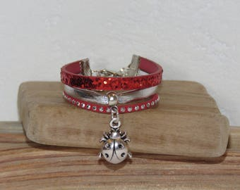 Leather Cuff Bracelet for girl, red, silver, glitter, leather, suede studded, ladybug charm