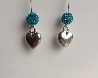 Turquoise bead with Rhinestones and Silver Heart Earrings