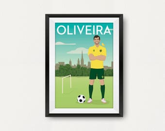 Retro Norwich Player Poster. Nelson Oliveira. Carrow Road. Travel Poster Style. Fan Art. Canaries