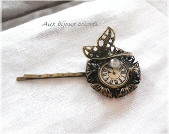bronze clock Butterfly hair clip