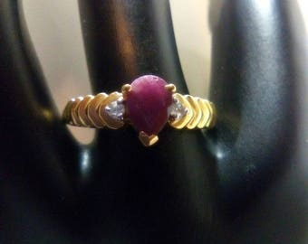Ruby with White Topaz Vermeil Ring July Birthstone OOAK