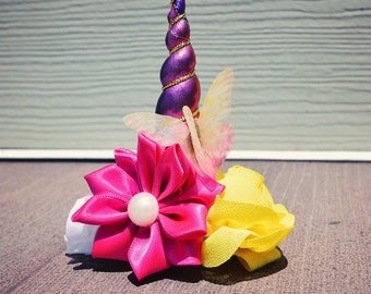 Pink, floral unicorn horn headband with butterfly