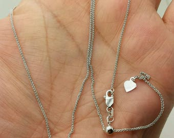 """10k Solid White Gold Adjustable Wheat Necklace Pendant Chain Up to 22"""" 1.0mm"""