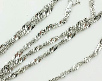 "10k Solid White Gold Diamond Cut Singapore Necklace Pendant Chain 18""-30"" 2.2mm"
