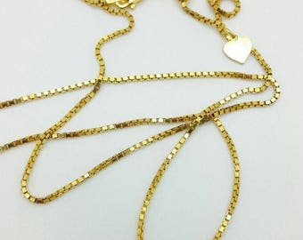 """925 Sterling Silver Solid 14k Gold Box Adjustable Chain Necklace 22"""" 1.4mm"""