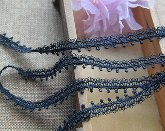Guipure lace embroidered black Largeur1.3cm L013001B