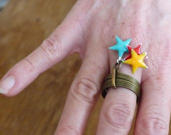 "Ring bronze weekly epoxy enamel Star ""Corona Borealis"""