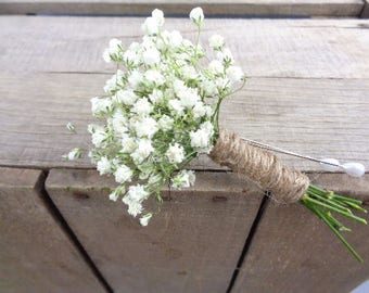 DRIED Babys breath Boutonniere, babys breath flowers, Dried flowers, Wedding flowers, wedding accessories, handmade, country wedding, bouts