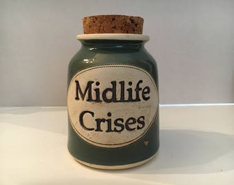 "Vintage Art Pottery Canister ""Midlife Crises"" by Dr. Brophy's Word Jars 1991"