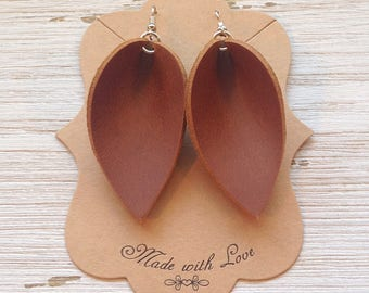 Camel Colored Leather Petal Earrings, Leather Earrings, Petal Earrings, Statement Earrings, Boho