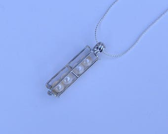 Sterling Silver  Cage Pendant & Pearl Necklace Kit