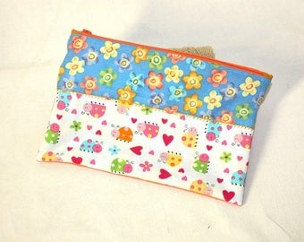 Zipper pouch pattern flowers and ladybugs