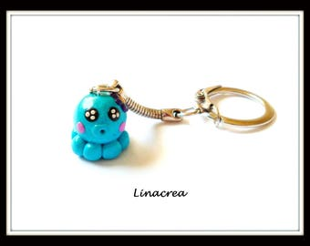 Small sky blue polymer clay Octopus keychain