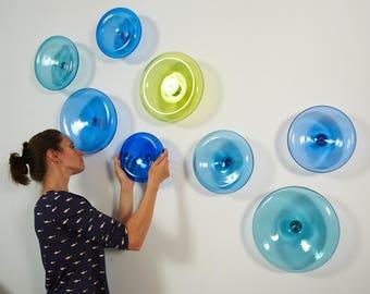 Modern Custom Made Wall Art / Hand Blown Glass Wall Sculpture / Large  Artwork Corporate /