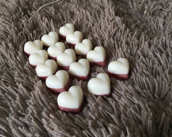 Red & white cherry scented soy wax heart shaped melts