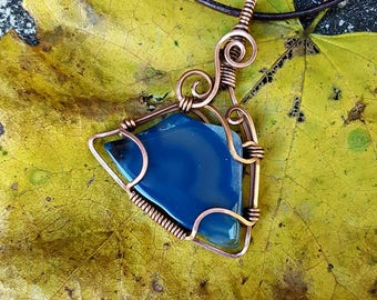 Blue wave triangular polished agate in antiqued copper pendant necklace