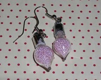 Pair of earrings drops vials roses (earrings only)