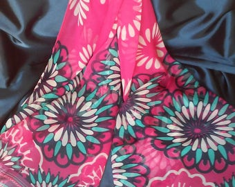 Pink Chiffon Scarf Pink Silk Scarf Pink Polyester Scarf Pink Georgette Scarf Pink Turquoise Navy blue Scarf Scarves Pink Shawl  Wrap Bandana