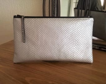 Silver snake leatherette case bag POUCH
