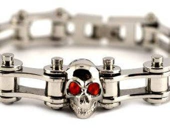 1/2 Wide All Silver Red Stones Size: 7.25 Bracelet