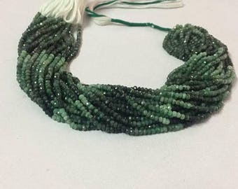Emerald shaded rondelle beads 10 strand, Natural Emerald faceted rondelle 3-4mm, Emerald loose gemstone necklace