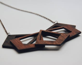 Laser cut wooden necklace - Aesthetic necklace - Wooden geometric necklace - Wooden handmade jewelry - Geometric necklace - Gift for her