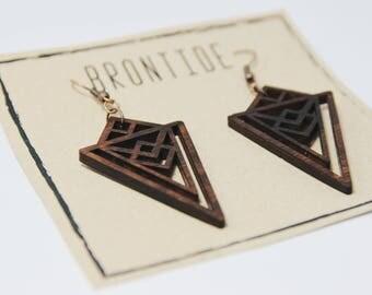 Handcrafted wooden earrings - Elegant wooden earrings - Art Deco inspired earrings - Bespoke earrings - Geometric plywood earrings