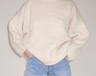 Vintage handmade knit wool funnel neck cream ivory sweater