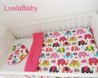 éléphant LuelaBaby Blanket Baby Minky + Pillow , Coussin + Couverture plaid Bebe fille girl