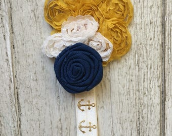 Shabby Chic, Baby Headband, Newborn, Nautical, Anchor, Beachy, Gold, Yellow, Cream, Navy