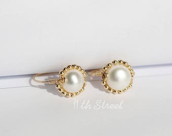 14K Gold Filled Freshwater Pearl Sunflower Party Wedding Ring