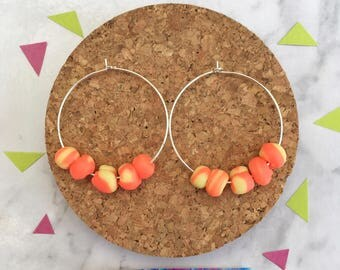 Disco Hoop Earrings in Lava • Polymer Clay •  Handmade  •  Stainless Steel  • Gift Idea  • Jewellery •  Earrings • Party