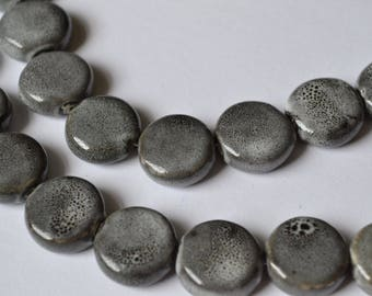 Gorgeous 20x10mm flat round ceramic bead