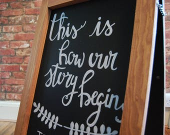 Bespoke Hand Drawn'This Is How Our Story Began' Chalkboard Wedding Sign | For Wedding or Party | Wedding Signs