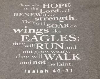 Monogrammed Tee Shirt w/ Bible Verse on Back