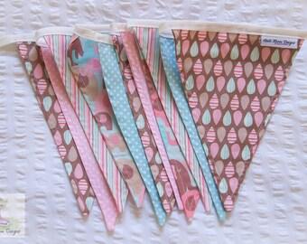 Blue, pink & chocolate soft baby girls elephant nursery fabric bunting / pennant flags