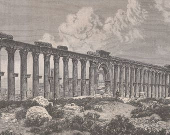 Colonnade, Syria 1877 - Old Antique Vintage Engraving Art Print - Columns, Arch, Ornamental, Corinthian Order, Boulder, Shrubs, Ruins