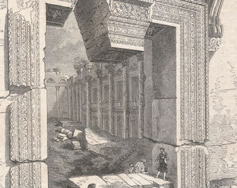 Lebanon 1885, Gate of the Temple of Jupiter, in Baalbek, Shot of Roberts' book on Syria, Old Antique Vintage Engraving Art Print, Entrance