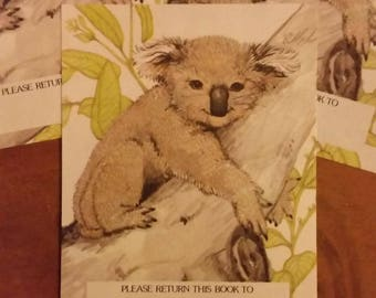 Vintage Antioch Book Plates - Koala Bear in Tree  - Set of 3 Bookplates