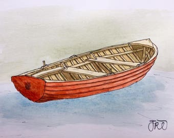 Original Boat Fishing Oars Paddle Watercolour Painting
